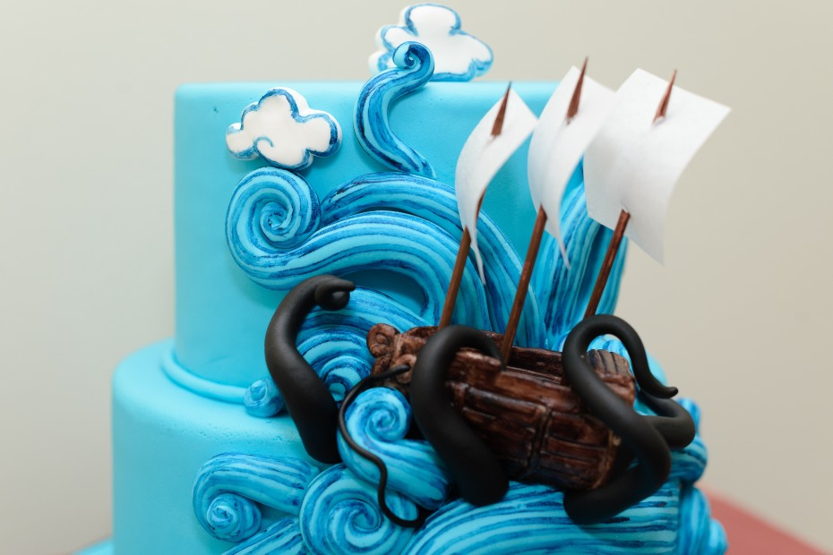 Krakken attacking Pirate Ship Cake