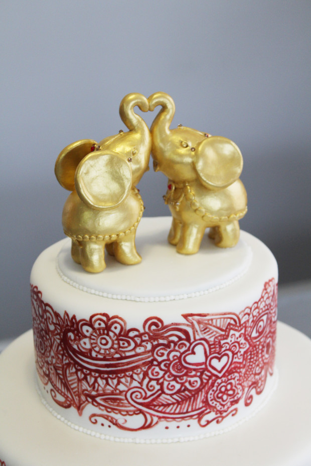 Henna Mehndi Cake with Elephant Cake Topper