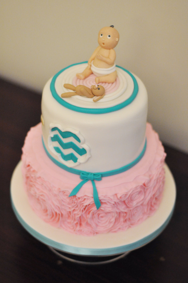 Ruffle Baby Shower Cake with Baby Figurine Cake Topper