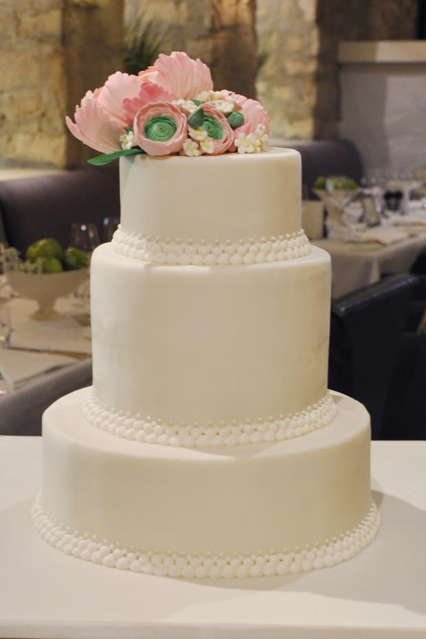 Peonies and Ranunculus Wedding Cake