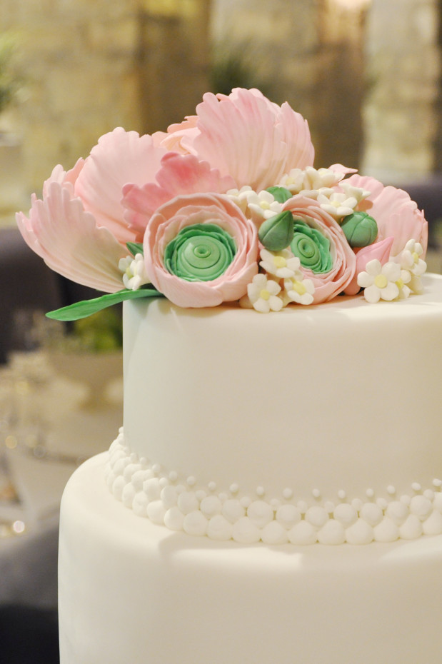 Peonies and Ranunculus Wedding Cake