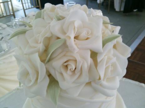 Gumpaste White Roses Cake Topper