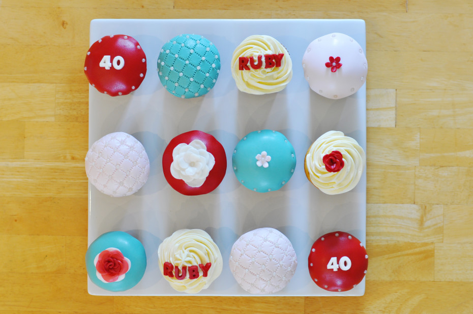 Ruby Red Anniversary cupcakes