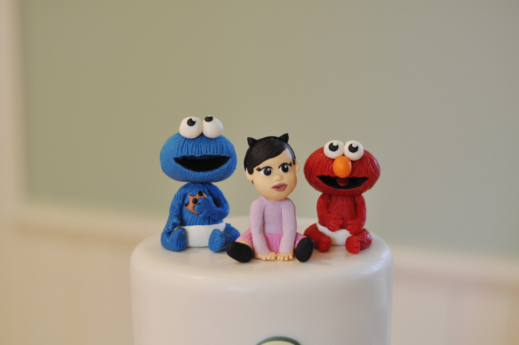 Cookie Monster and Elmo and Baby Girl Cake Topper