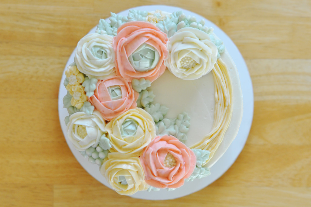 Buttercream Ranunculus Wreath Cake