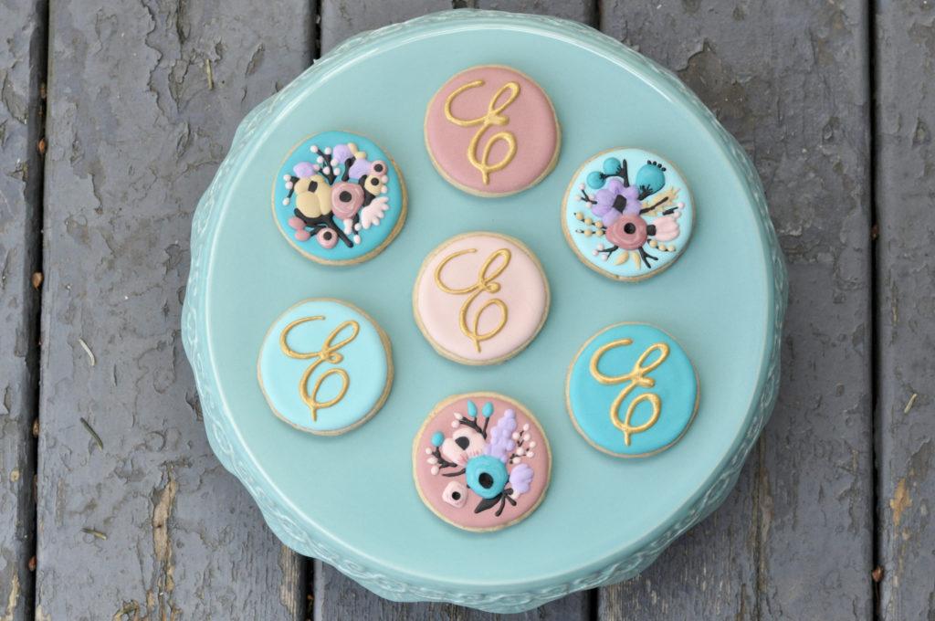 Monogram Floral Cookies